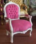 Barock Kinder Stuhl Rosa/Weiß - Armlehnstuhl - Barock Möbel Antik
