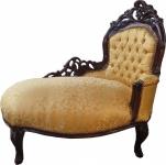 Casa Padrino Barock Kinder Chaiselongue Gold Muster / Mahagoni Braun - Recamiere Kindermöbel
