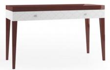 Casa Padrino Luxus Konsolentisch mit Schublade Hochglanz Braun / Weiß 111, 2 x 45 x H. 83 cm - Luxus Möbel