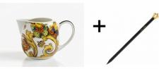 Harald Glööckler Porzellan Sahnekännchen + Luxus Bleistift von Casa Padrino - Barock Dekoration