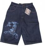 2Pac Skateboard Herren Jeans Shorts Shadow Dark Blue