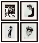 Casa Padrino Bilder 4er Set Audrey Hepburn Schwarz 40 x H. 45 cm - Luxus Wanddekoration