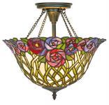 Casa Padrino Tiffany Deckenleuchte / Hängeleuchte Mosaik Glas Durchmesser 40 cm - Leuchte Lampe