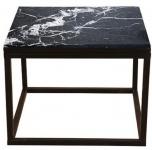 Casa Padrino Luxus Beistelltisch mit Marmorplatte Schwarz 60 x 60 x H. 45 cm - Luxus Möbel
