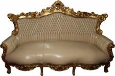 Casa Padrino Barock 3er Sofa Master Creme Lederoptik / Gold - Antik Stil Möbel