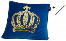 Harald Glööckler Designer Zierkissen 50 x 50 cm Krone mit Pailletten Royalblau/Gold + Casa Padrino Luxus Barock Bleistift mit Kronendesign
