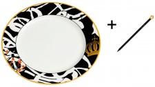 Harald Glööckler Designer Porzellan Teller Art Ø 27, 5 cm + Casa Padrino Luxus Barock Bleistift mit Kronendesign