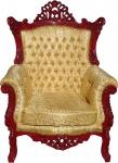 Casa Padrino Barock Sessel Al Capone Gold Muster / Braunrot - Antik Stil Wohnzimmer Möbel - Limited Edition