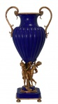 Casa Padrino Porzellan Vase mit 2 Messing Griffen 39 x 28, 3 x H. 78, 7 cm - Luxus Vase