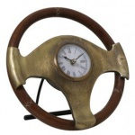 Casa Padrino Designer Tischuhr Lenkrad in Antik Bronze/Braun Ø25x6, 5 cm - Designer Uhr