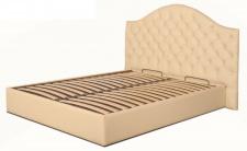 Casa Padrino Luxus Chesterfield Echtleder Bett in beige mit Swarovski Kristallsteinen - Luxus Kollektion