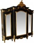 Casa Padrino Barock Luxus Kleiderschrank Schwarz / Gold B 200 x H 220 cm Schlafzimmer Schrank