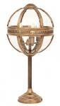 Casa Padrino Barock Tischleuchte Vintage Messing Finish Kugel Silber Durchmesser 30 cm, Höhe 61 cm - Barock Schloss Lampe Leuchte Laterne