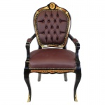 Casa Padrino Luxus Barock Stuhl mit Armlehnen Boulle Collection - Luxus Schreibtisch Stuhl
