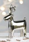 Designer Rentier Höhe 18 cm, Länge, 14 cm, Silber edle Skulptur aus Porzellan - Edel & Prunkvoll
