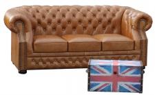 Casa Padrino Luxus Echtleder 3er Sofa Hellbraun 210 x 90 x H. 80 cm - Chesterfield Sofa