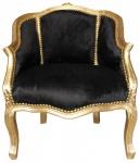 Casa Padrino Barock Damen Salon Sessel Schwarz/ Gold - Möbel Antik Stil