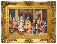 Casa Padrino Barock Öl Gemälde Familientreffen Gold Prunk Rahmen 130 x H. 100 cm - Edel & Prunkvoll