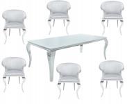 Casa Padrino Designer Esszimmer Set Silber / Weiss - Esstisch 180 cm + 6 Stühle - Modern Barock
