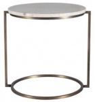 Casa Padrino Luxus Beistelltisch Beige / Kupfer Ø 50 x H. 54 cm - Runder Metalltisch mit Naturstein Tischplatte
