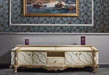 Casa Padrino Luxus Barock Fernsehschrank Weiß / Antik Gold 242 x 65 x H. 70 cm - Prunkvoller Barock Wohnzimmerschrank mit 4 Türen und 3 Schubladen