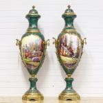 Casa Padrino Deko Vasen Grün / Gold 30 x H. 100 cm - Barockstil Porzellan Vasen Set