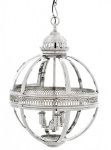 Casa Padrino Barock Hängeleuchte vernickelt Kugel Silber Durchmesser 43 cm, Höhe 63 cm - Barock Schloss Lampe Leuchte Laterne