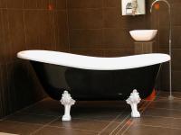 Freistehende Luxus Badewanne Jugendstil Roma Schwarz/Weiß/Weiß 1470mm - Barock Antik Badezimmer