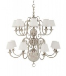 Casa Padrino Luxus Kronleuchter - Luxus Hängeleuchte Nickel Durchmesser 106 x H 125 cm