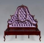 Casa Padrino Luxus Barock Bett Mahagoni Lila- Louis XV Französisches Luxus Bett