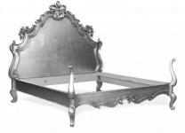 Barock Bett Lusso Superior Silber 180 x 200 cm aus der Luxus Kollektion von Casa Padrino