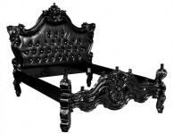 Barock Bett Barocco Schwarz Croco Lederoptik / Schwarz mit Bling Bling Glitzersteinen 180 x 200 cm aus der Luxus Kollektion von Casa Padrino