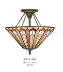 Casa Padrino Tiffany Deckenleuchte 41cm Braun / Creme / Rot - Glas Mosaik Decken Lampe Leuchte Barock Restaurant Beleuchtung