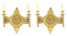 Casa Padrino Barock Wandleuchten Set Medaillon Gold - Wandlampe Wand Beleuchtung (2 Leuchten)