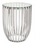 Casa Padrino Luxus Beistelltisch Silber Ø 46 x H. 56 cm - Runder Edelstahl Tisch mit Glasplatte