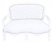 Casa Padrino Barock Kinder Sitzbank Weiß Lederoptik / Weiß Antik Stil Kinder Sofa