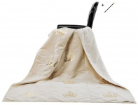 Harald Glööckler Designer Wohndecke 150 x 200 cm Royal Beige / Gold + Casa Padrino Luxus Barock Bleistift mit Kronendesign