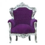 Casa Padrino Barock Sessel King Lila / Silber 85 x 85 x H. 120 cm - Antik Stil