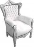 Barock Kinder Sessel Weiß/Silber - Thron