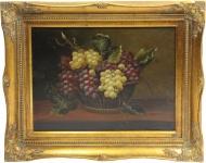 Handgemaltes Barock Öl Gemälde Obst Stilleben Gold Prunk Rahmen 54 x 44 cm