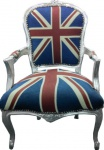 Casa Padrino Barock Salon Stuhl Union Jack Design / Silber