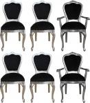 Casa Padrino Luxus Barock Esszimmer Set Schwarz / Silber - 6 handgefertigte Esszimmerstühle - 2 Stühle mit Armlehnen und 4 Stühle ohne Armlehnen - Barock Esszimmermöbel
