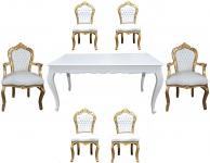 Casa Padrino Barock Esszimmer Set Weiß/Gold - Esstisch + 6 Stühle
