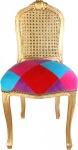 Casa Padrino Barock Damen Stuhl Karo Bunt / Gold - Limited Edition