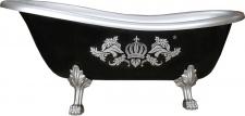 Pompöös by Casa Padrino Luxus Badewanne Deluxe freistehend von Harald Glööckler Schwarz / Silber 1560mm mit silberfarbenen Löwenfüssen