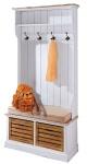 Casa Padrino Landhausstil Garderobe Antik Weiß / Naturfarben 92 x 40 x H. 189 cm - Handgefertigte Garderobe mit Sitzbank und Körben