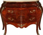 Casa Padrino Barock Kommode Braun mit cremefarbener Marmorplatte 3 Schubladen Mod3 - Empire Kommode