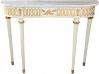 Casa Padrino Barock Konsolentisch mit Marmorplatte, Antik Stil Creme/Gold/Weiss 112 cm - Barock Konsole - Limited Edition Konsole
