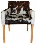 Casa Padrino Designer Esszimmer Stuhl mit Armlehnen ModEF 35 Kuhfell - Hotelmöbel - Buche - Echtes Fell