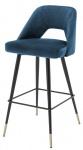 Casa Padrino Luxus Barstuhl Blau / Schwarz 50 x 50 x H. 100 cm - Luxus Barhocker mit Rückenlehne